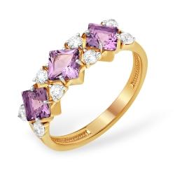 """Кольцо """"Дорожка"""" из красного золота 585 с аметистами, фианитами"""