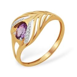 """Кольцо """"Животный мир"""" из красного золота 585 с аметистами, фианитами"""