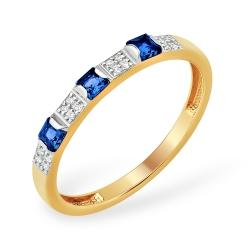 """Кольцо """"Дорожка"""" из красного золота 585 с бриллиантами, сапфирами ГТ"""
