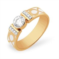 """Кольцо """"Глухая закрепка"""" из красного золота 585 с фианитами, фианитами Swarovski"""