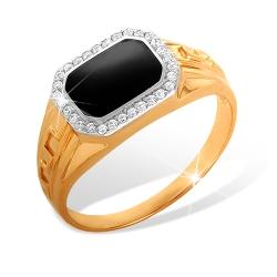 """Кольцо """"Печатка"""" из красного золота 585 с фианитами"""
