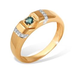 """Кольцо """"Печатка"""" из красного золота 585 с топазами London, фианитами"""