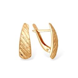"""Серьги """"3D алмазная грань"""" из красного золота 585 без вставок"""