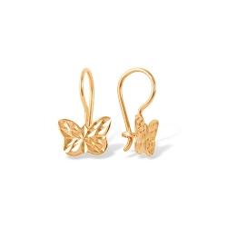 """Серьги """"Бабочки"""" из красного золота 585 без вставок"""
