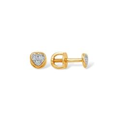 """Серьги """"Сердечки"""" из красного золота 585 с бриллиантами"""