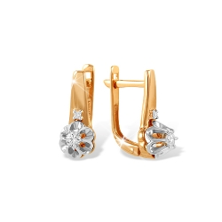 "Серьги ""Розочки"" из красного золота 585 с бриллиантами"
