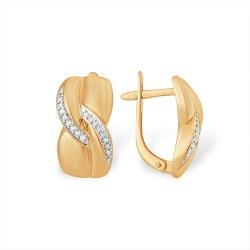 """Серьги """"Английский замок"""" из красного золота 585 с бриллиантами"""
