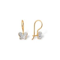 """Серьги """"Бабочки"""" из красного золота 585 с фианитами"""