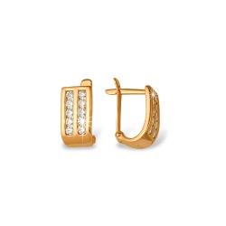 """Серьги """"Дорожки"""" из красного золота 585 с фианитами"""