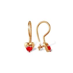 """Серьги """"Сердечки"""" из красного золота 585 с фианитами"""