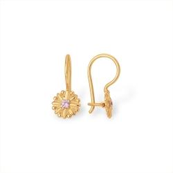 """Серьги """"Цветочки"""" из красного золота 585 с фианитами"""
