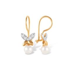"""Серьги """"Бабочки"""" из красного золота 585 с жемчугом, фианитами"""
