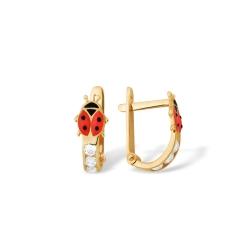 """Серьги """"Животный мир"""" из красного золота 585 с фианитами"""