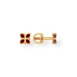 """Серьги """"Цветочки"""" из красного золота 585 без вставок"""