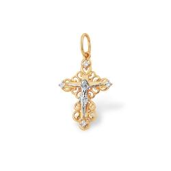 """Крест """"Православный"""" из красного золота 585 с фианитами"""