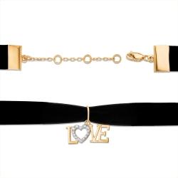 """Чокер """"Love"""" из красного золота 585 с лентой бархатной, фианитами"""