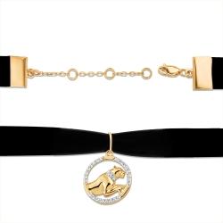 """Чокер """"Животный мир"""" из красного золота 585 с лентой бархатной, фианитами"""