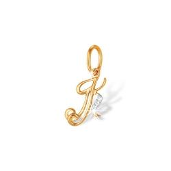 """Подвеска """"Буквы"""" из красного золота 585 с фианитами"""