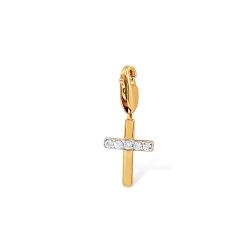 """Подвеска """"Крестик"""" из красного золота 585 с фианитами"""