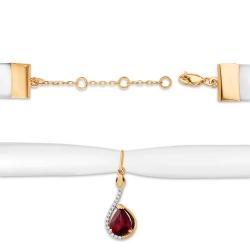 Чокер из красного золота 585 с гранатами, лентой бархатной, фианитами