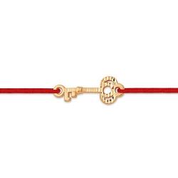 """Браслет """"Красная нить"""" из красного золота 585 с шнуром нейлоновым"""