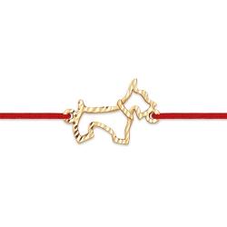 """Браслет """"Животный мир"""" из красного золота 585 с шнуром нейлоновым"""