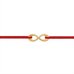 """Браслет """"Красная нить"""" из красного золота 585 с фианитами, шнуром нейлоновым"""