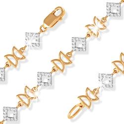 """Браслет """"Геометрия"""" из красного золота 585 с фианитами"""