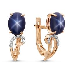 Золотые серьги cо звездчатым сапфиром и бриллиантом