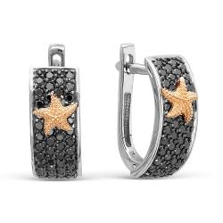 Серьги Морские звезды из белого золота c бриллиантом
