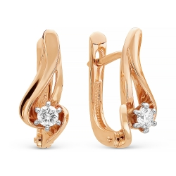 Золотые серьги c бриллиантом