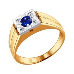 Мужское кольцо из комбинированного золота с сапфиром SOKOLOV