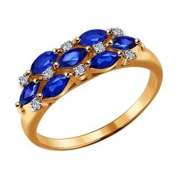 Золотое кольцо c сапфирами и бриллиантами SOKOLOV