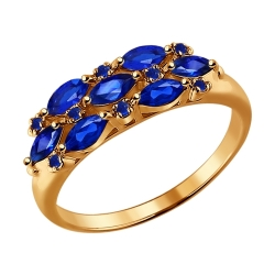 Золотое кольцо c сапфирами SOKOLOV