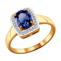 Золотое кольцо c большим сапфиром и бриллиантами SOKOLOV