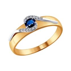 Кольцо из комбинированного золота с сапфиром SOKOLOV