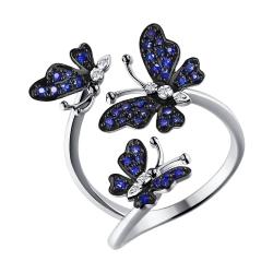 Золотое кольцо Бабочки с сапфирами SOKOLOV