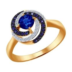Золотое кольцо (Сапфир, Бриллиант) SOKOLOV