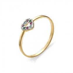 Золотое кольцо с фианитами Сердце