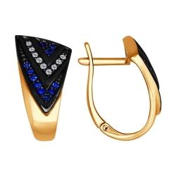 Золотые серьги Геометрия (Сапфир, Бриллиант) SOKOLOV