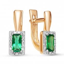 Золотые серьги c изумрудом и бриллиантом