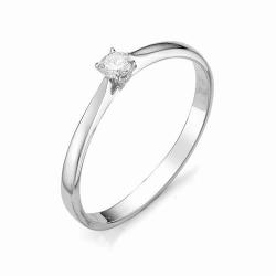 Кольцо из белого золота с маленьким бриллиантом