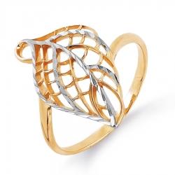Золотое кольцо в виде листа без камней