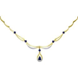 Колье из желтого золота с бриллиантами и сапфирами