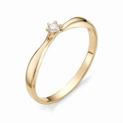 Золотое помолвочное кольцо с маленьким бриллиантом