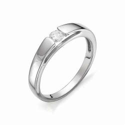 Кольцо из белого золота с крупным бриллиантом