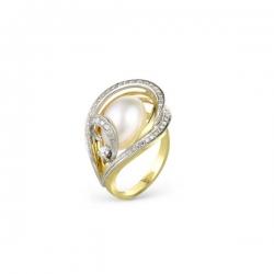 Кольцо из золота 585 пробы с бриллиантами и жемчугом