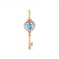 Золотая подвеска Ключ с топазом, фианитами
