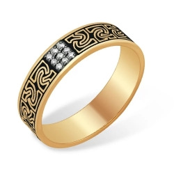 Кольцо из красного золота 585 с бриллиантами, необычное