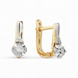 Серьги из красного золота бриллиантом